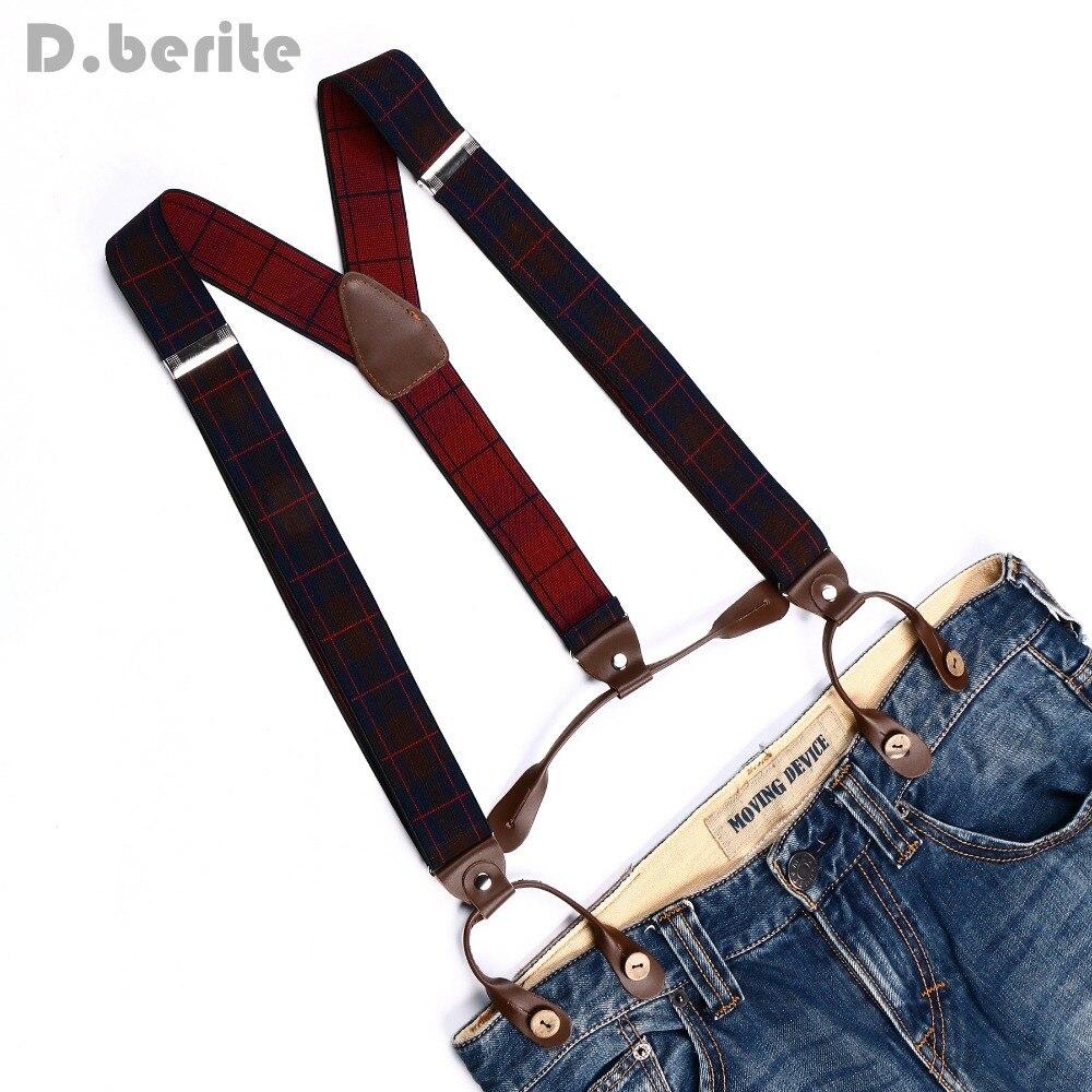 Mens Adjustable 6 Buttons Holes Elastic Suspenders Unisex Plaid Braces 3.5cm Width BD764