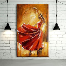 Free Shipping Hand-painted Spanish Flamenco Dancer Oil Painting On Canvas Spain Dancer Dancing With Red Dress Art Oil Paintings