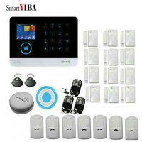 SmartYIBA WIFI APP Kontrol Kablosuz GSM Alarm Sistemi PIR Hareket Dedektörü Kablosuz Mavi Siren Kiti LCD Ekran SIM SMS Alarmı