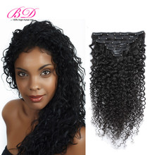 Clip In Human Hair Extensions Kinky Curly Brazilian Virgin Hair 70-220g African American Clip In Hair Extensions 1B Color