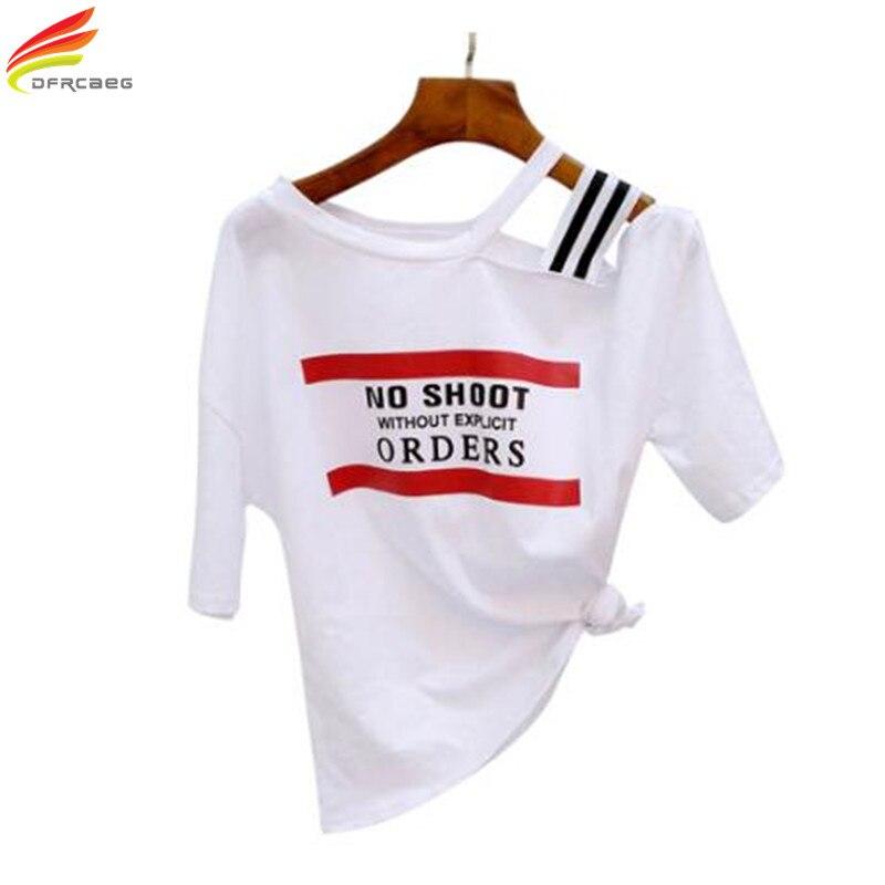 Summer T Shirt Women Off One Shoulder Tees 2018 New Latest Design Korean Style Fashion Clothing 100% Cotton Tee Shirt Tshirt