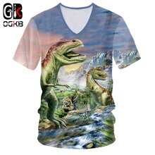 OGKB T-shirt col en v femmes/hommes impression Cool dinosaure roi 3D T-shirt Animation t-shirts unisexe Slim Fit manches courtes T-Shirts occasionnels 7XL(China)