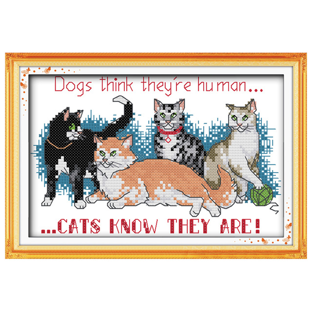 Free Ship Cat Friends Counted 11CT 14CT Unfinished Cross Stitch wholesale animals Cross Stitch Kits needlework