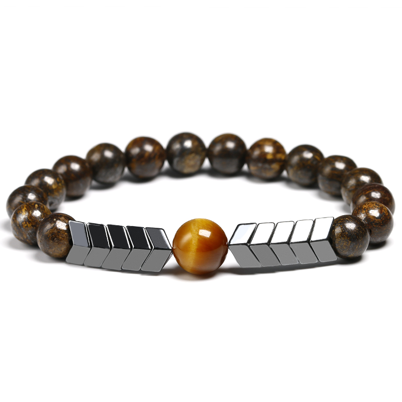 Natural 8MM BRONZITE Stone Beads With 10MM Tiger Eye Strand Bracelet Arrow Hematite Bracelet Men Best Gift Jewelry