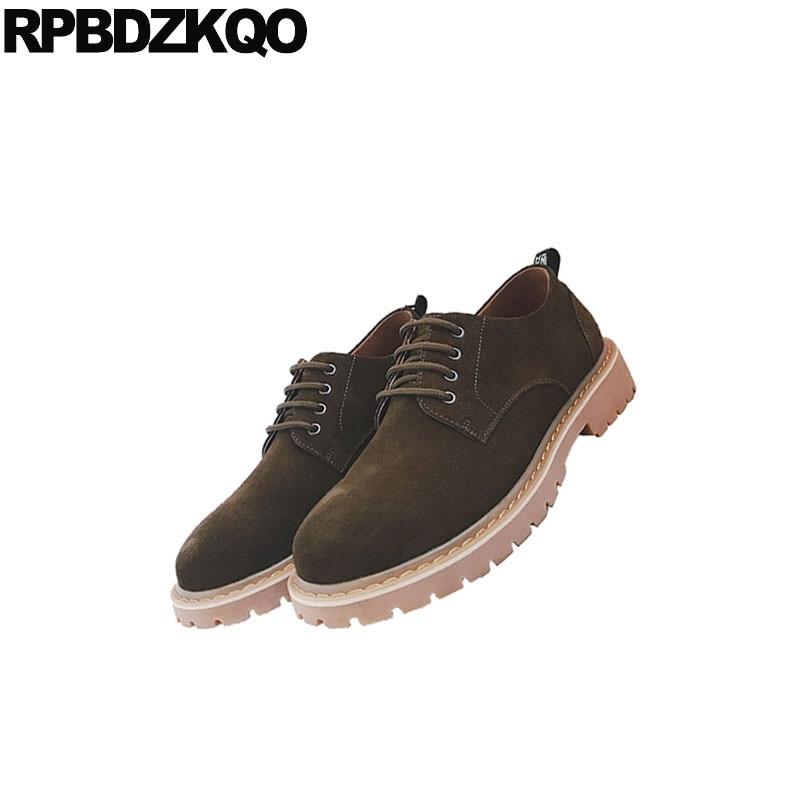 Preto Casual Designer Calçado Conforto 2018 Homens Flats Recente Britânico Da Primavera Coffee dark De Até Sapatos Antiderrapante Moda Mais Suede cáqui Estilo Elegante Rendas wYRtZE