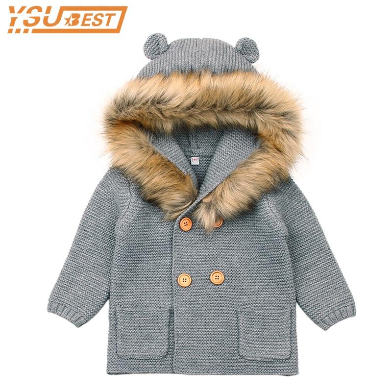 Winter Warm Newborn Baby Sweater Fur Hood Detachable Grey Infant Boys Girl Knitted Cardigan Children Fall Outwear Knitwear 0-24M