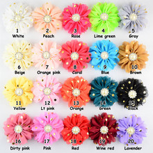 Yundfly 10pcs 3.2 20 Colors Kids Golden Dots Hair Flowers With Pearl Rhinestone Centre Flat Back For Girls Headwear