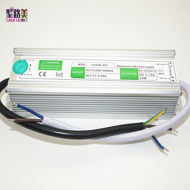 Fast shippin dc12v 45w led driver waterproof power supply ip67 fast shippin dc12v 45w led driver waterproof power supply ip67 outdoor lighting equipment dedicated power supply workwithnaturefo