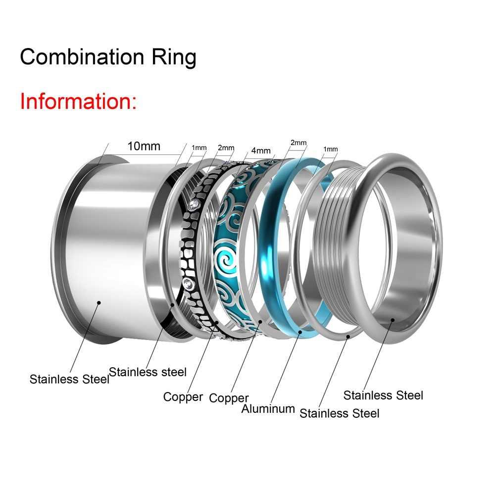 Floya แหวนสแตนเลส Interchangeable งานแต่งงานแหวนวง Aneis Feminino Anillos Mujer ชั้นแหวน