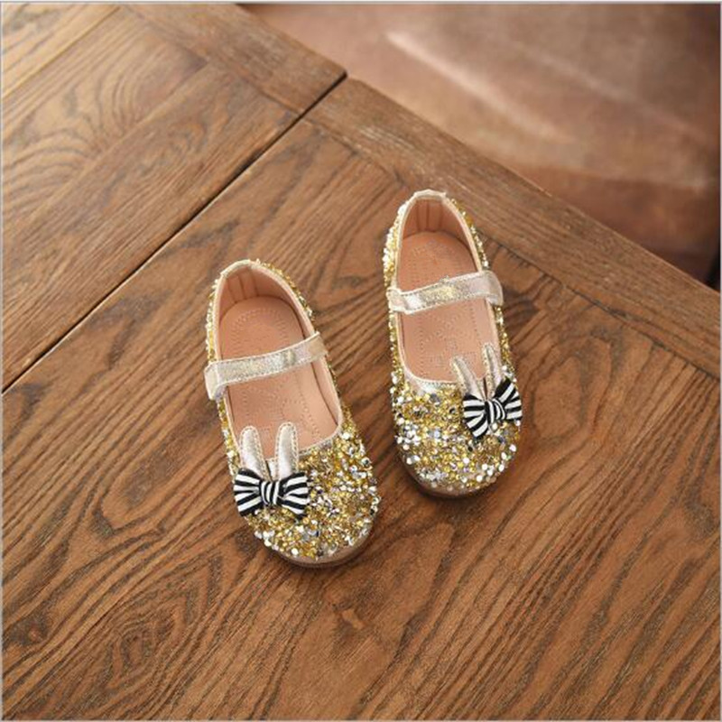 Girls Rhinestone Bow Loafers Patent Leather Shiny Children Dance Shoes Free Shipping Baby Round Toe Sneakers