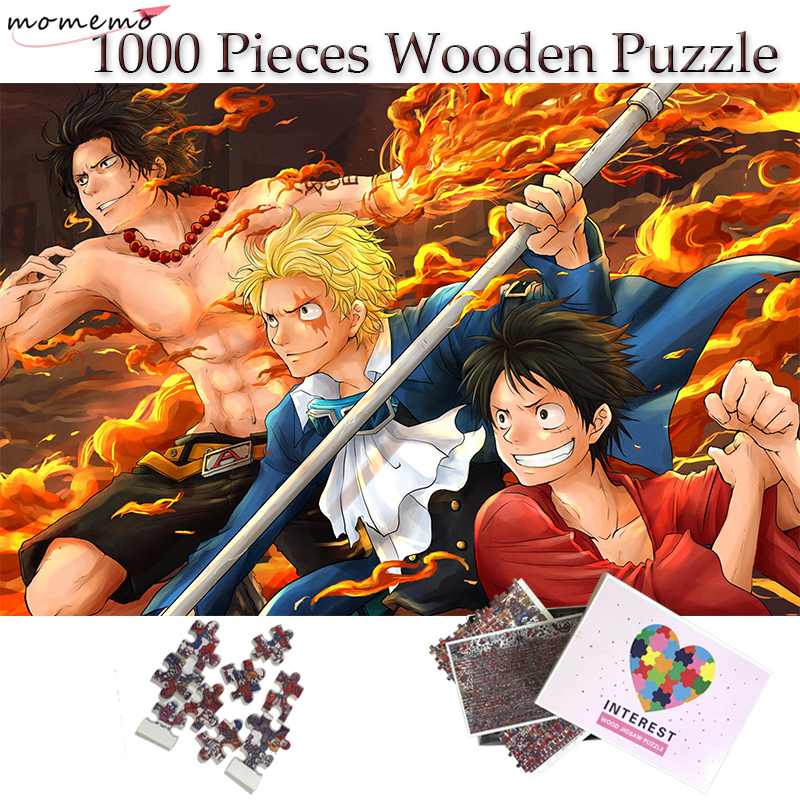 MOMEMO Wooden Puzzle 1000 Pieces Three Brothers Luffy Ace Sabo Jigsaw Puzzles One Piece Anime Pattern Puzzle Toys for Adult Kids