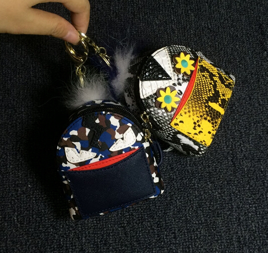 Monster Mini Backpack Key chains Cute Bag bug Charm Python Skin Leather Mini Purse Bag Keyrings Handbag  Accessoreis Evil Eyes