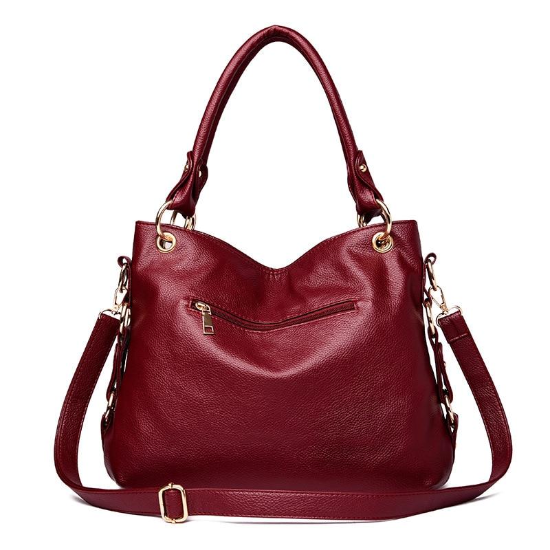 2018 new European and American fashion handbag soft leather autumn and winter ladies fashion shoulder Messenger