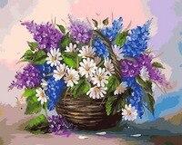 Frameloze schilderij nummers muur decor diy foto olieverfschilderij voor home decor 4050 Spikes en daisy
