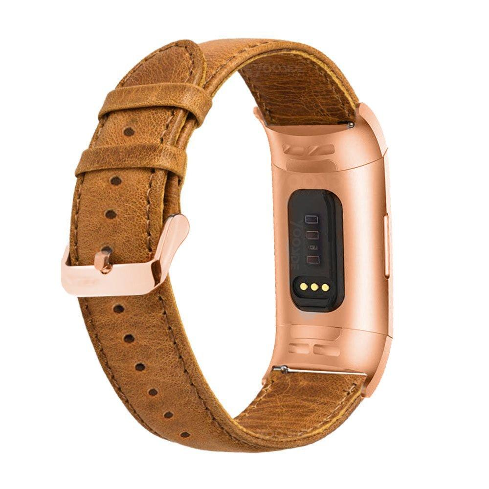 For Fitbit Charge 3 Genuine Leather Band Strap Wristband Rose Gold Adapter Clasp For Fitbit Charge 3 /Charge 3 SE