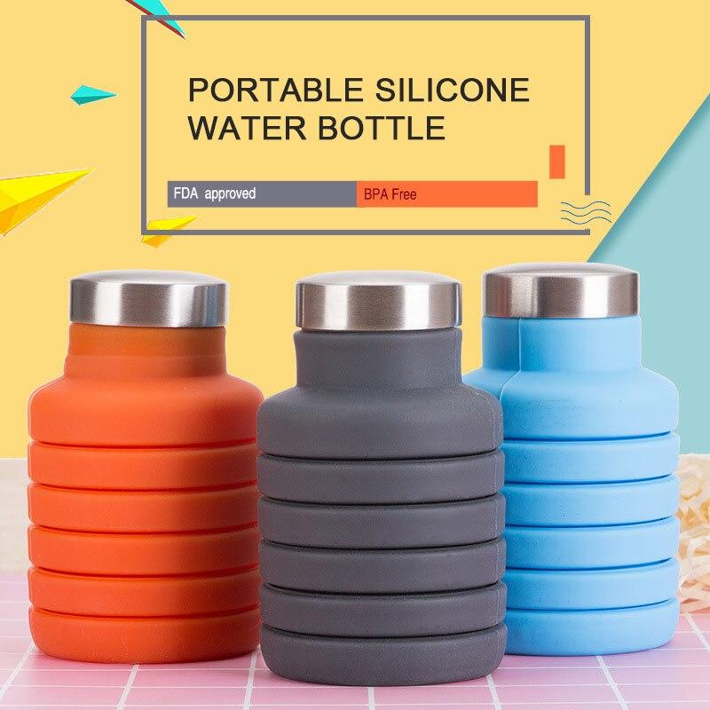 Botella de agua de silicona de 500 ML con cubierta de acero inoxidable botella de café plegable de viaje al aire libre para beber hervidor deportivo plegable