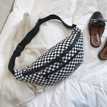 Ccrxrq Kotak-kotak Tas Pinggang Wanita 2019 Baru Kanvas Unisex Berguna Sabuk Tas Fashion Tas untuk Wanita Wanita Selempang Dada tas