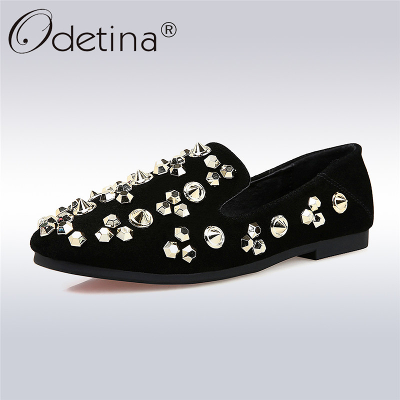 Odetina 2018 New Fashion Women Genuine Leather Flats Casual Slip On Rivet Loafer Shoes Ladies Square Toe Flat Shoes Lazy Loafers odetina 2017 new women pointed metal toe loafers women ballerina flats black ladies slip on flats plus size spring casual shoes