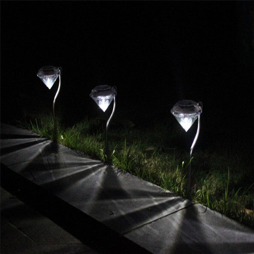 2018 Diamond shapes LED Solar Light party Pathway Landscape Ground Mount Lamp Garden Lamp Fence Solar Lamp LED Light #0527