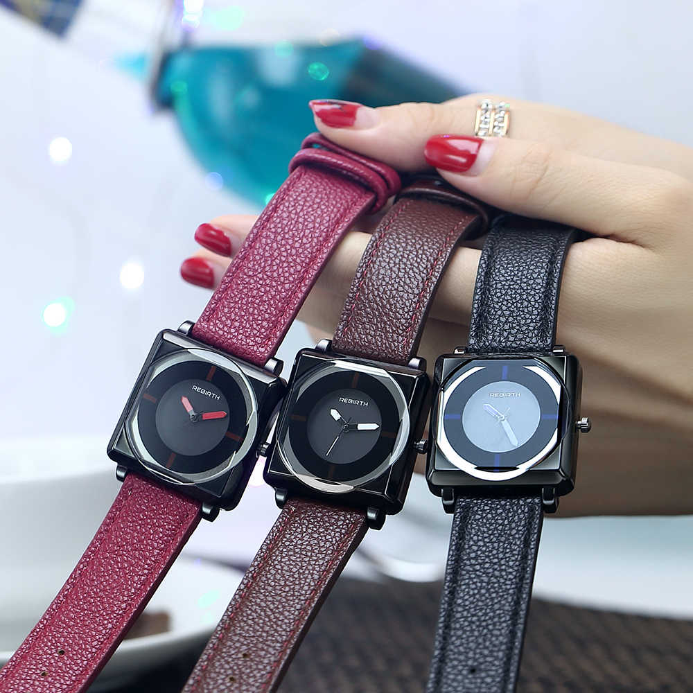 לידה מחדש 2019 נשים של שעון מרובע אופנה שעון נשים עסקים גבירותיי שעונים לנשים אופנה פשוט צמיד ביאן kol saati