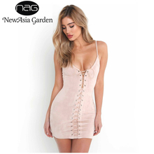NewAsia Garden Sleeveless V Neck Lace Up Suede Dress Faux PU Leather Women Party Dresses Elegant Evening Sexy Club Mini Drese(China)