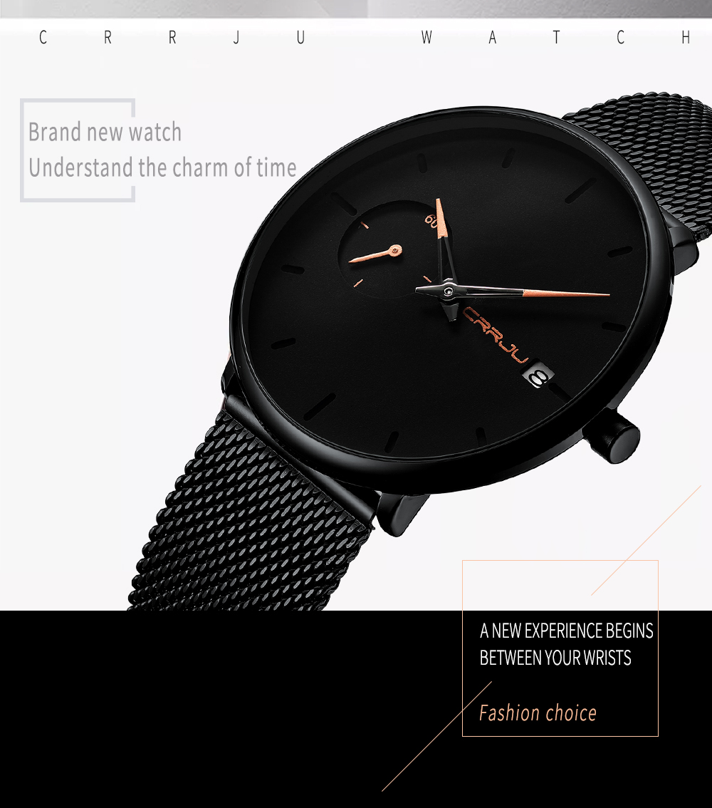 Crrju Sports Date Mens Watches Top Brand Luxury Waterproof Sport Watch Men Ultra Thin Dial Quartz Watch Casual Relogio Masculino 5