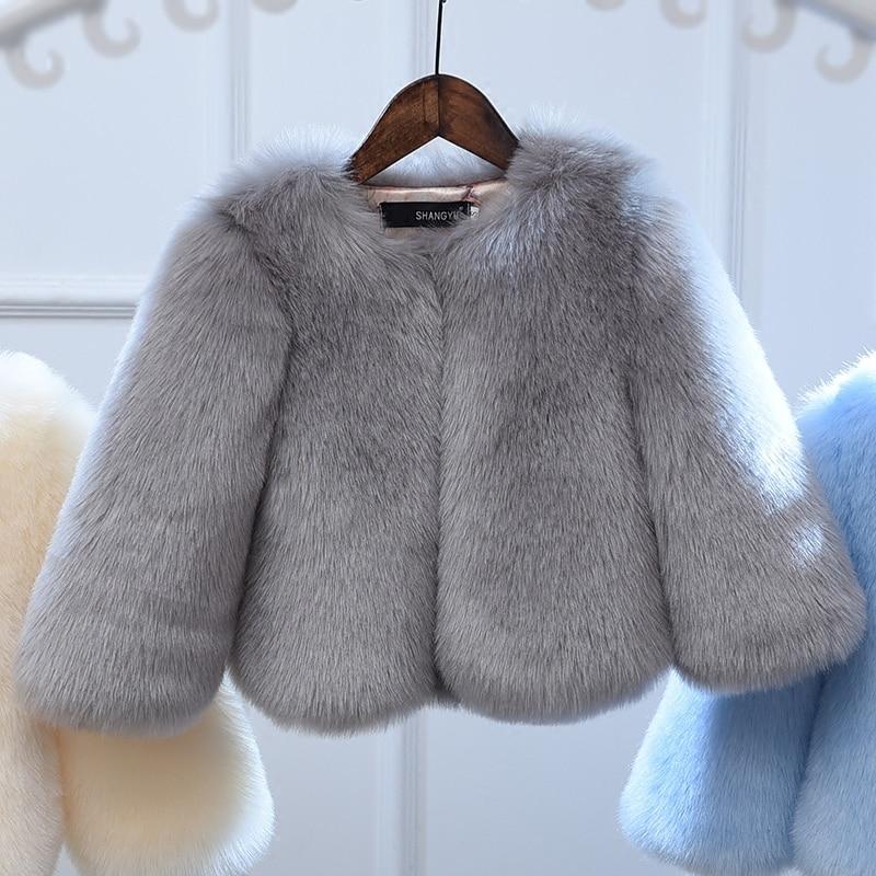 2d7c617282e3 High Quality! Little Girls Winter Coats Toddler Faux Fur Jackets ...