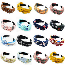 Haimeikang 2019 Cute Knot Plastic Hairbands Headbands for Women Girls Fabric Floral Print Hairband Wide Hair Band Accessories