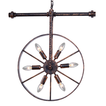 цена на Iron wheel pipe lighting fixture retro loft pendant lamp restaurant dining room pub bar cafe light vintage chandelier droplight