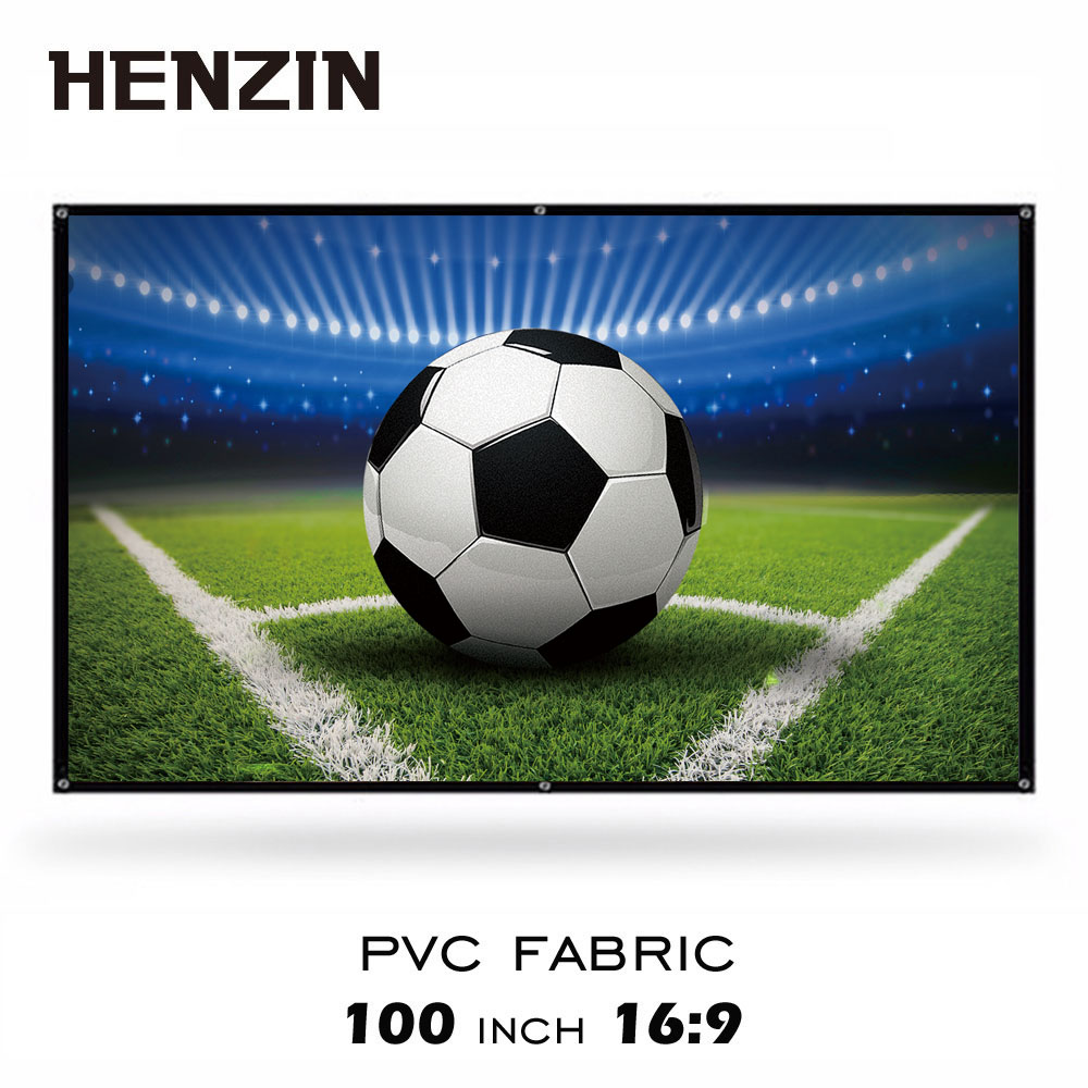 100 inch Portable Projection Screen 16:9 Matte White HD Projector Screen Wall Mounted PVC Screen for Home Theater Outdoor Moive excelvan 150 inch 16 9 collapsible pvc hd portable home and outdoor use projector screen with hanging hole for front projection