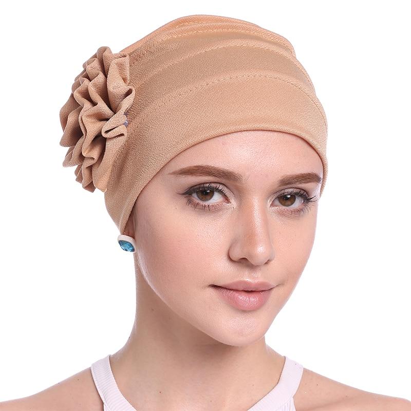 Babalet Wanita Elegant Soft Side 3D Bunga Chemo Cancer Beanie Muslim - Pakaian kebangsaan - Foto 1