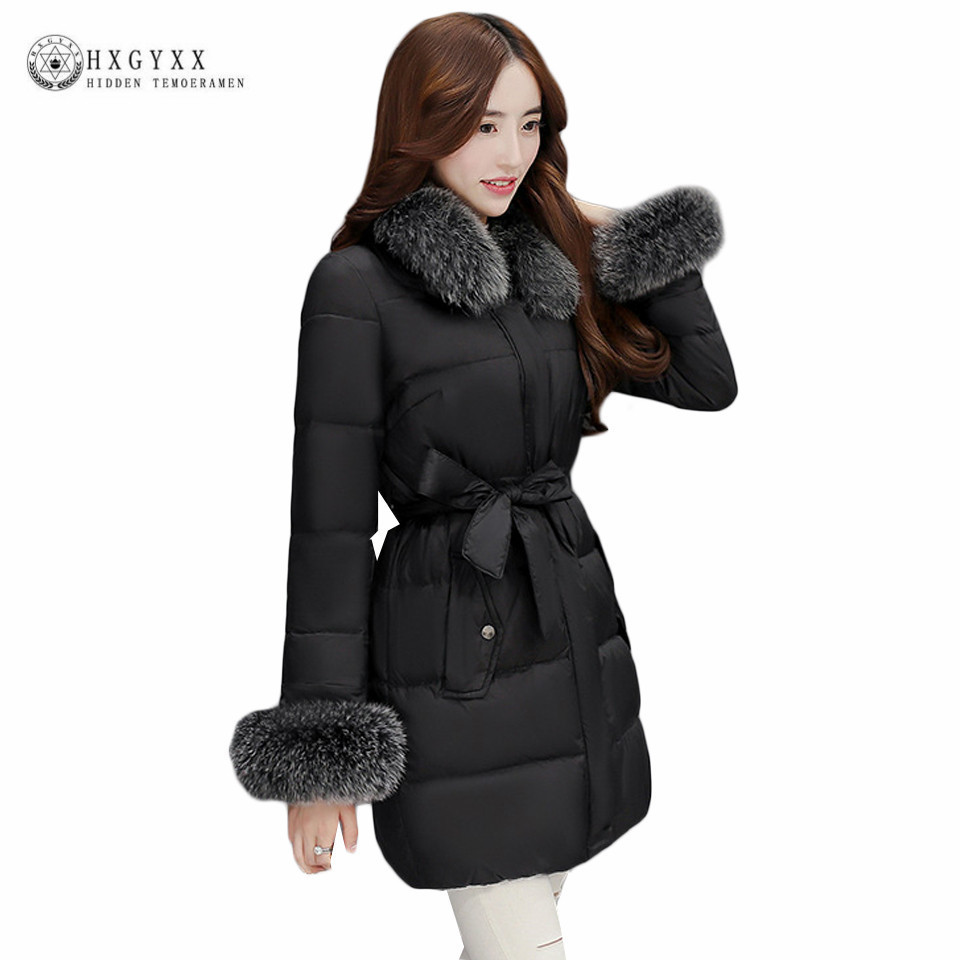 2017 Winter Womens Down Jackets Slim Warm Real Fox Fur Fashion Hooded Goose Feather Coat Plus Size White Duck Down Parka okb154