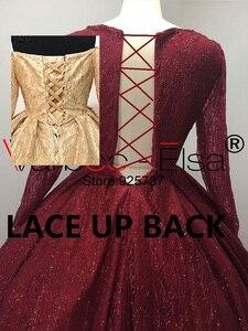 Image 5 - VARBOO_ELSA Dubai Árabe Vestido de Noite Elegante vestido de Baile vermelho 2018 Brilhante Lantejoulas Longo Prom Dress Robe De Soirée 2018 árabe vestido