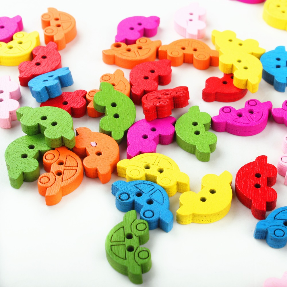 Mixed Car 2 Holes Wood Painting Sewing Buttons Scrapbooking 19x11mm(3/4