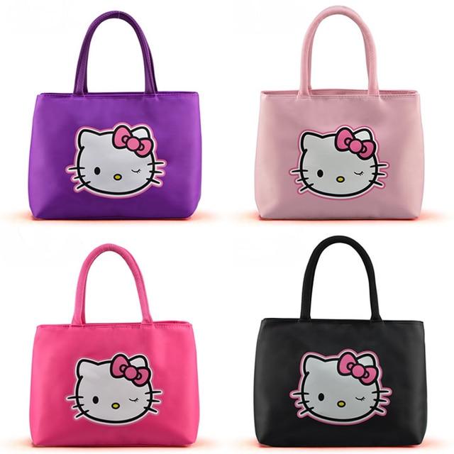 Free Shipping 2017 Fashion Women Oxford Handbags Casual Handbag Hello Kitty Cartoon Pattern Printed Shoulder Bags
