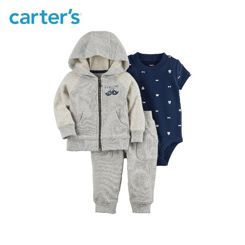 Carter's из 3 предметов для маленьких детей Детская одежда для мальчиков на весну и осень хлопок усы курточку комплект 127H179