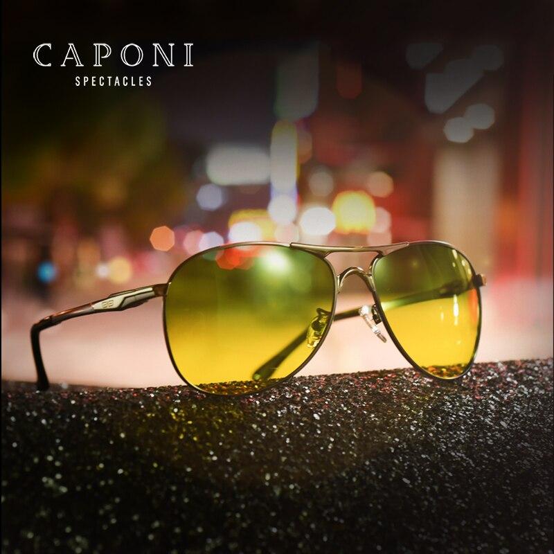 Caponi Pilot Polarized Men Sunglasses Fashion Day And Night Driving Avaiton Driving Sun Glasses Oculos De Sol RY8722