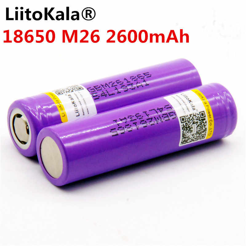 2 шт. 100% оригинал лиитокала M26 18650 2600 мА/ч, 10A 18650 литий-ионная аккумуляторная батарея питания безопасный аккумулятор 2500