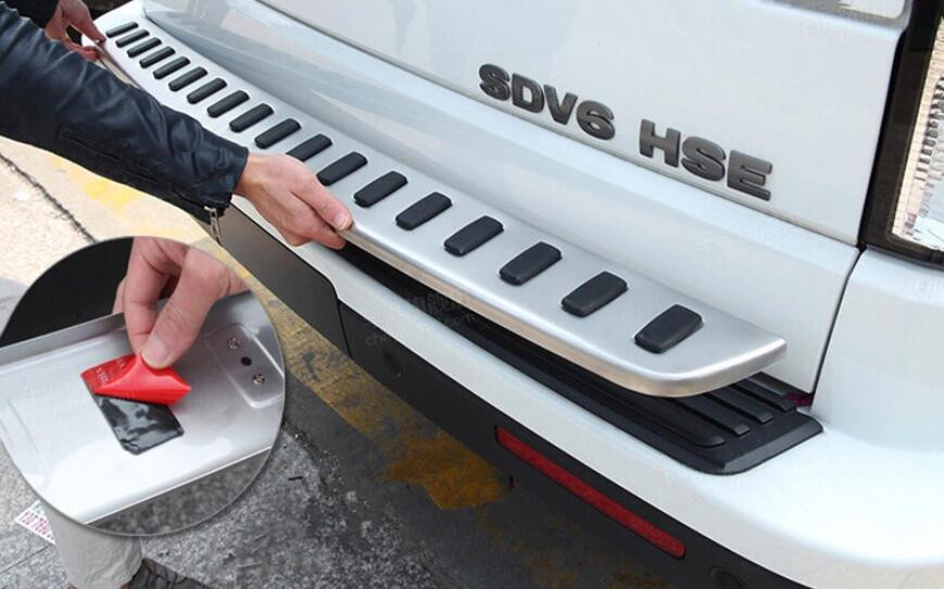 Stainless Steel Exterior Outer Rear Bumper Guard Plate Cover Trim For Land Rover LR4 Discovery 4 2010 2011 2012 2013 2014 2015