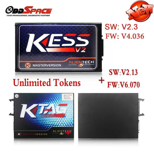 2017 Newest KESS V2 V2.3 FW V4.036 OBD2 Manager Tuning Kit Master Ver + KTAG V6.070 ECU Programmer Tool K-tag with ECM Titanium