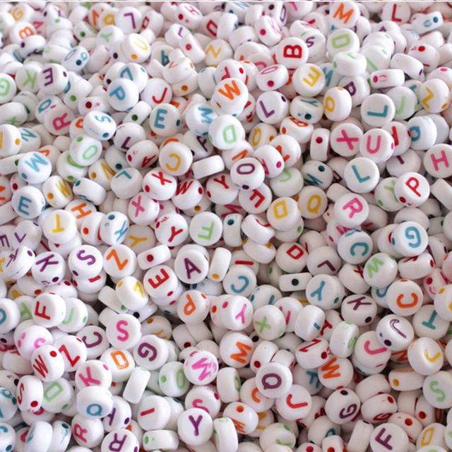 100PCS Colorful Alphabet Beads DIY Loom Bands Bracelets and Jewelry Making Toy
