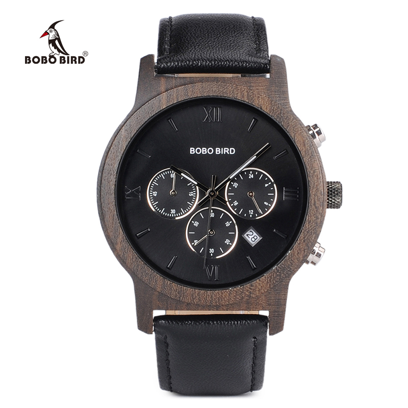 BOBO BIRD Mens Luxury Wood Watches Clock Functional Stop Chronograph Saat With Date Display Relogio Masculino Timepieces C-P28