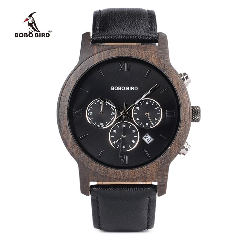 BOBO BIRD Mens Luxury Wood Watches Clock Functional Stop Chronograph saat with Date Display relogio masculino Timepieces C P28|saat|saat men|saat watch - title=
