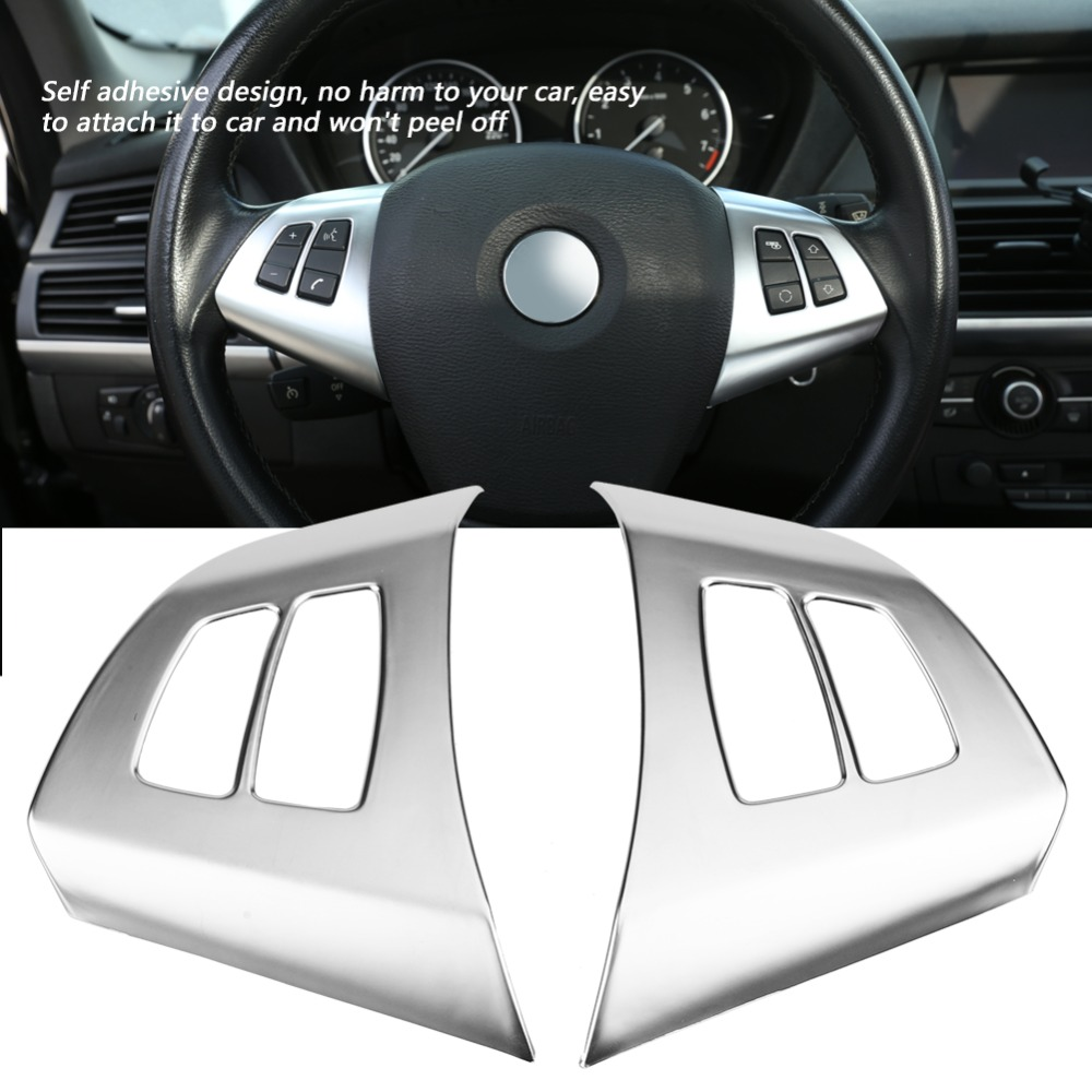 2pcs Carbon Fiber Steering Wheel Button Frame Decoration Cover Trim for X5 E70 2008-2013 Steering Wheel Button Cover Trim