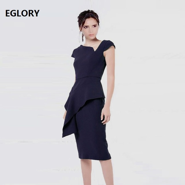 Top Quality New Celebrity Inspired Women's Dress O Neck Short Sleeve Bodycon Sheath Back Zipper Dress Office Lady Pencil Dress