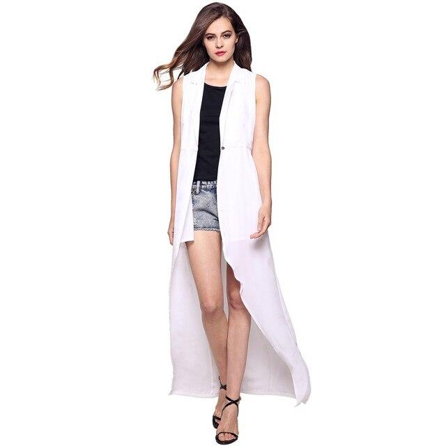 Larga blanca de las mujeres capa del chaleco de estilo de Europen chaleco sin mangas de la chaqueta Solo Botón outwear casual top Roupa Femenina