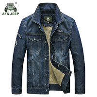 AFS JEEP Men S Classic Cowboy Winter Thicken Jacket Warm Wool Coat Man Casual Brand Denim