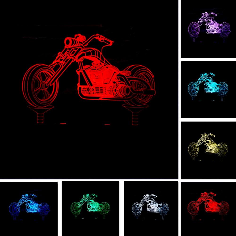 Cool Luminaria 3D Man Retro Motocycle Desk Lamp Night Light Colorful Gradient Illusion Table Lamps Bedroom Decor Kids Xmas Gifts