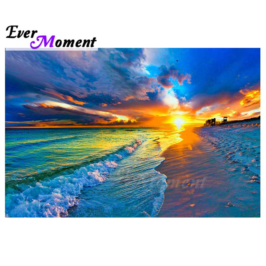 Ever Moment Diamond Painting Scenery Sea Handmade Full Square Cross Stitch Picture Of Rhinestone Diamond Embroidery ASF1409Ever Moment Diamond Painting Scenery Sea Handmade Full Square Cross Stitch Picture Of Rhinestone Diamond Embroidery ASF1409