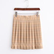 JK Uniforms Warm yellow Plaid Skirt Pleated skirts High school Student Skirt adjustable waist add pocket
